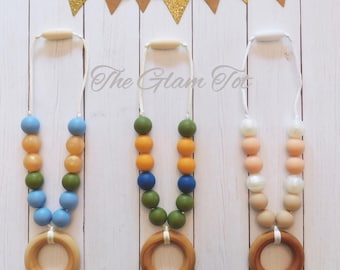 Silicone and organic wood teether, carrier teether, clip on teether, silicone beaded teether, baby shower gift, chew beads