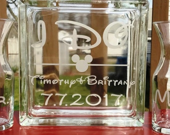 Personalized -  Glass Block - Sand Ceremony Set - Disney - 2 pouring vases - I DO - Etched Glass Engraved Unity Set Mickey Mouse