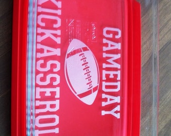 GameDay Kickasserole Pyrex 2 or 3 quart casserole dish Football Tailgate Party Choose Lid or No Lid