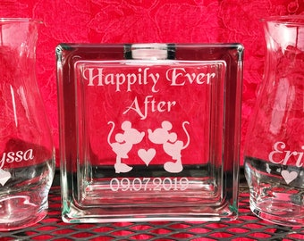 Glass Block - Sand Ceremony Set - Happily Ever After With Mickey Minnie - Etched Glass Engraved Unity Set  Disney- Blended Family