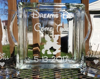 Personalized -  Glass Block - Sand Ceremony Set - Disney - 2 pouring vases - Dreams Do Come True - Etched Glass Engraved Unity Set
