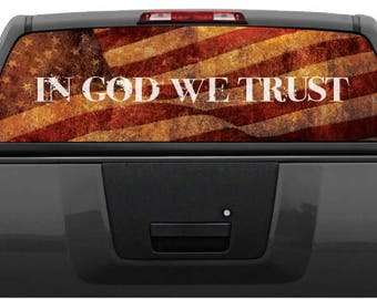 "/""In God We Trust/"" American Flag Rear Window Decal Graphic for Truck SUV"