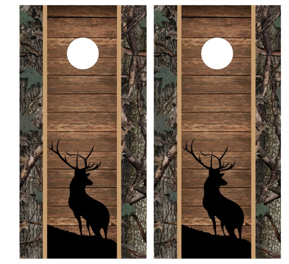 Welcome Illinois Whitetail Deer Hunters Cornhole Board Decal Wrap FREE SQUEEGEE