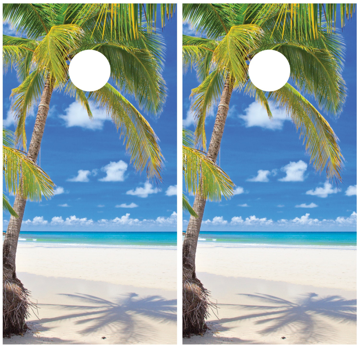 Palm Tree Beach: Beach Ocean Palm Tree Cornhole Decal Wrap