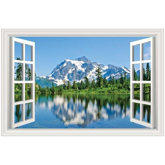 Mountain Scene #5 Lake Landscape Rear Window Decal Graphic Truck SUV