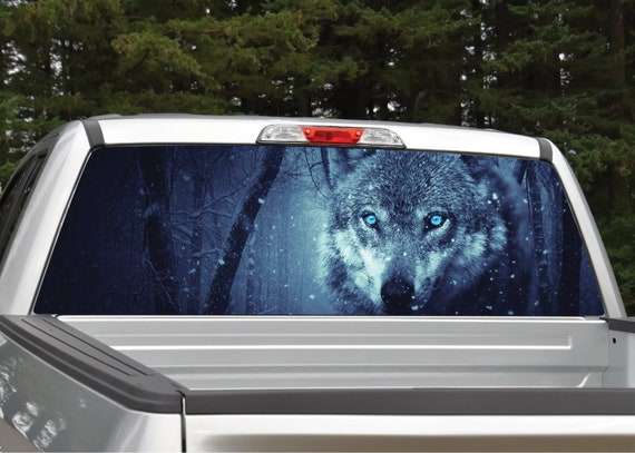 2 Wolves in Winter B//W  Rear Window Graphic Decal Truck SUV
