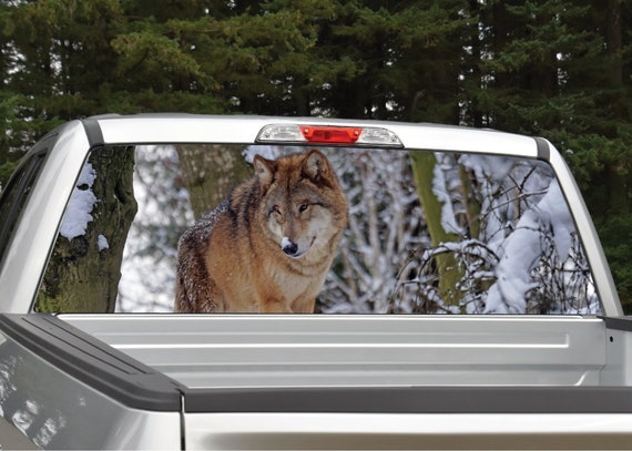 WOLF Pick-Up Truck Perforated Rear Windows Graphic Decal Decal