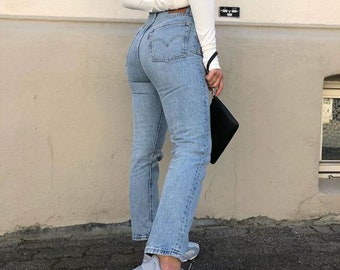 SIZES 26-42 - Slim Leg Vintage Reworked Levi Jeans LIGHT BLUE