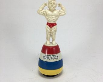 Vintage Joke Toy Gag Gift Muscle Man Pees water!  Gay interest.  Humor