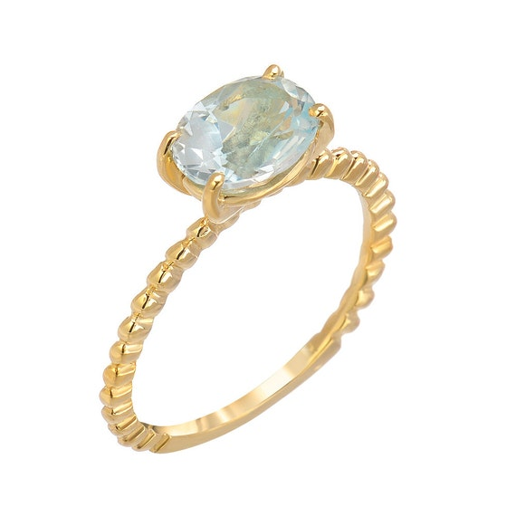 Natural Aquamarine, 14kt Yellow Gold Beaded Ring. Handmade By Gevani by Etsy