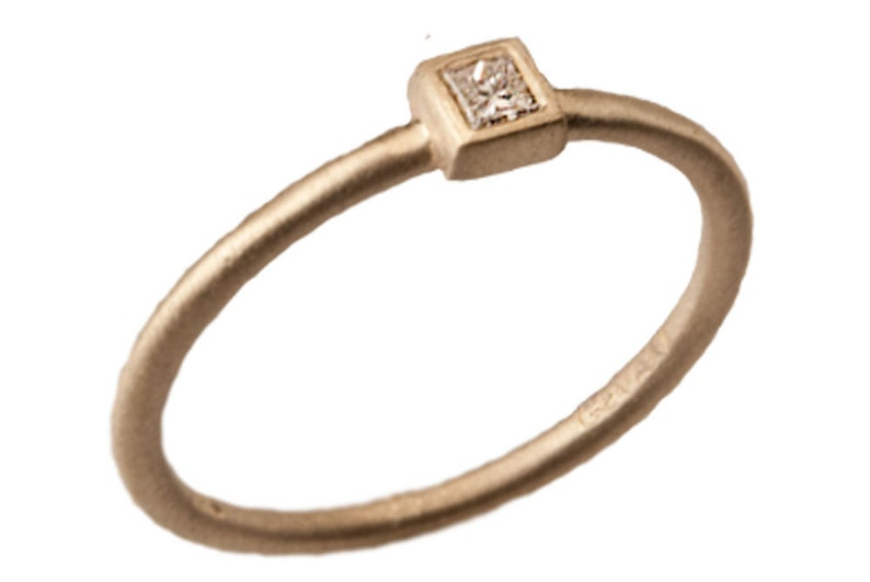 622faae33b8d4 Stackable Diamond Ring, Diamond 14kt Yellow Gold Stacking Ring, Handmade by  Gevani