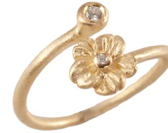 Flower Blossom Ring, Stacking Ring, Diamond Flower Ring, Botanical Jewelry, 14kt Gold Flowers. Handmade by Gevani Jewelry.