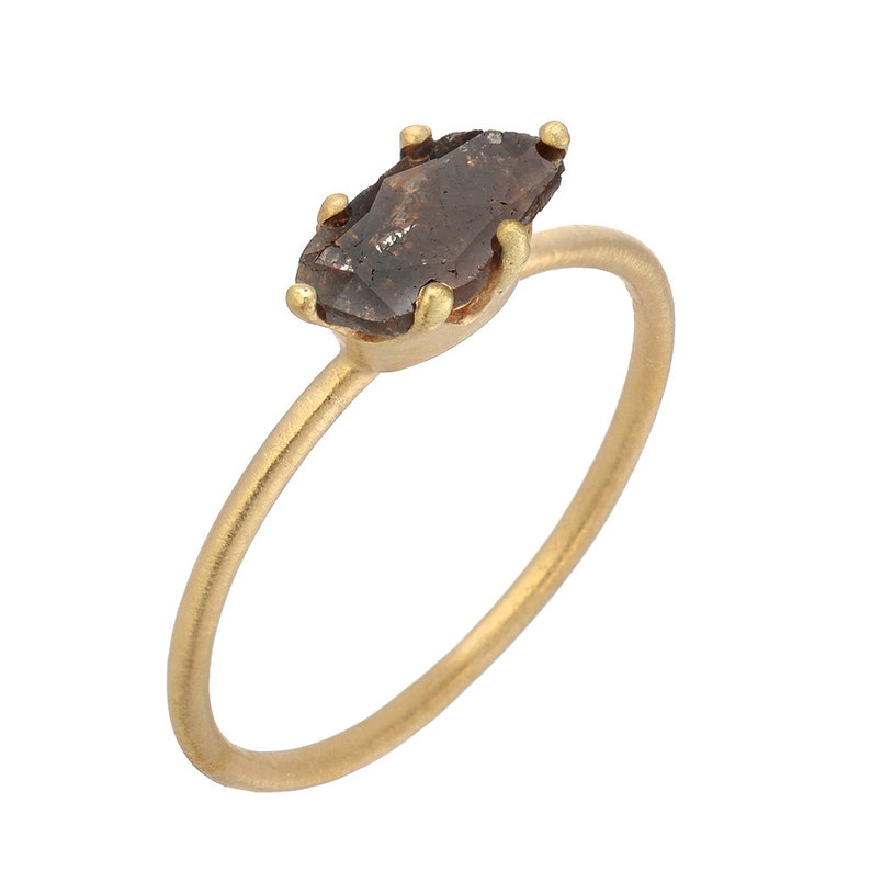 Natural Mocha Brown Rose Cut Diamond Slice 14kt Yellow Gold Solitaire Ring Handmade by Gevani.