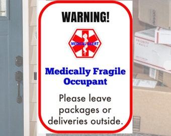Medically Fragile Window - Door Decal