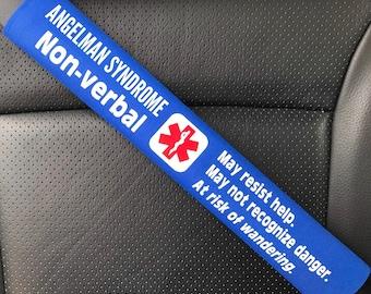 ANGELMAN Syndrome - Seatbelt Cover - Medical Alert Seatbelt Cover - Special Needs Seatbelt Cover