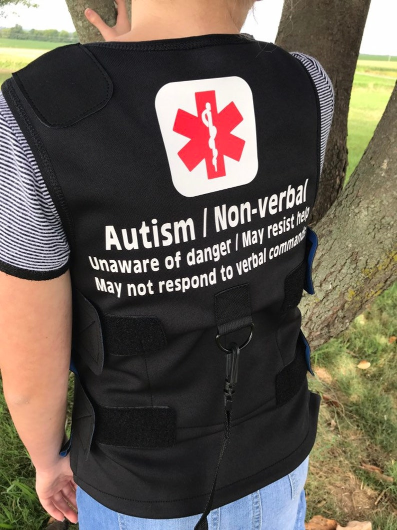 Autism Medical Alert Safety Weighted Pressure Vest with image 0