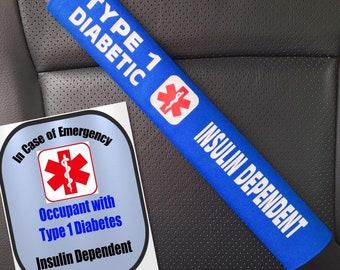 Type 1 Diabetic Safety Set Seat Belt Cover T1D Diabetes Window Decal Set