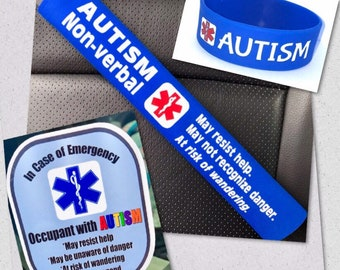 Autism Non-verbal 3 Piece Safety Kit Wristband Seat Belt Cover Window Decal