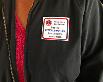 Unable to Wear Mask Fabric Patches - Re-usable - Soft Polyester - Sensory Friendly