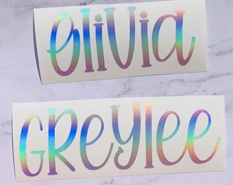Rainbow Holographic Custom Name decal | Kid's Name Decal - Fun Name Decal for Yeti, Name Decal for laptop, Water Bottle | Name Sticker