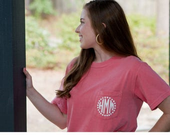 Monogrammed Comfort Colors Pocket T-Shirt | Monogram Shirt | Personalized shirt | Monogrammed pocket tee | monogrammed t-shirt personalized