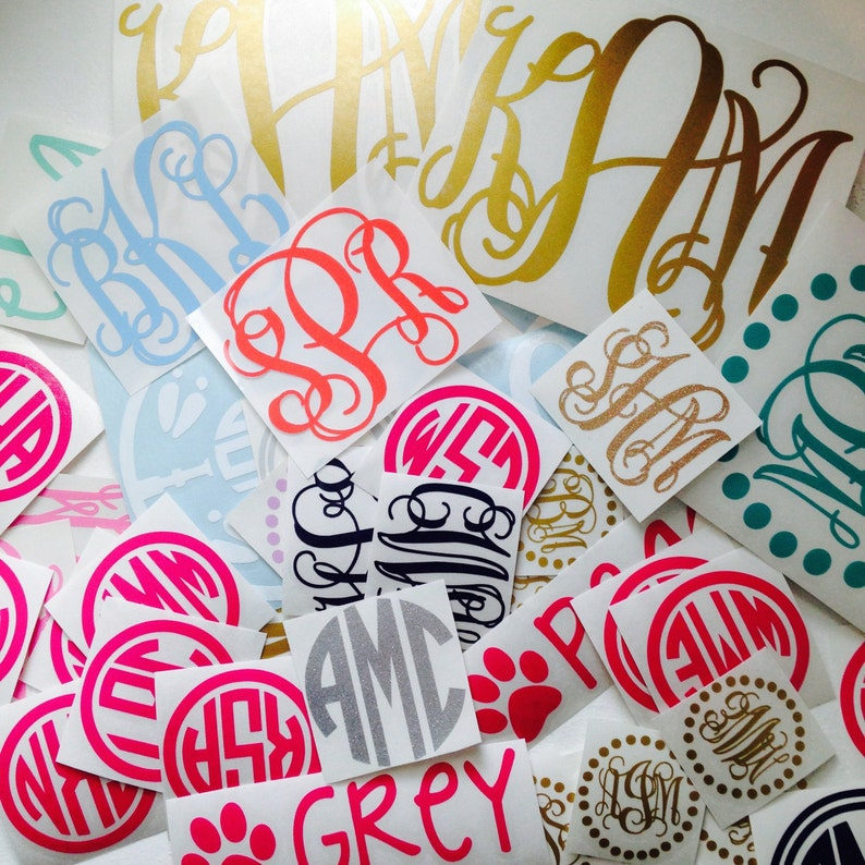 Monogram Decal Sticker  Many sizes colors and styles image 0