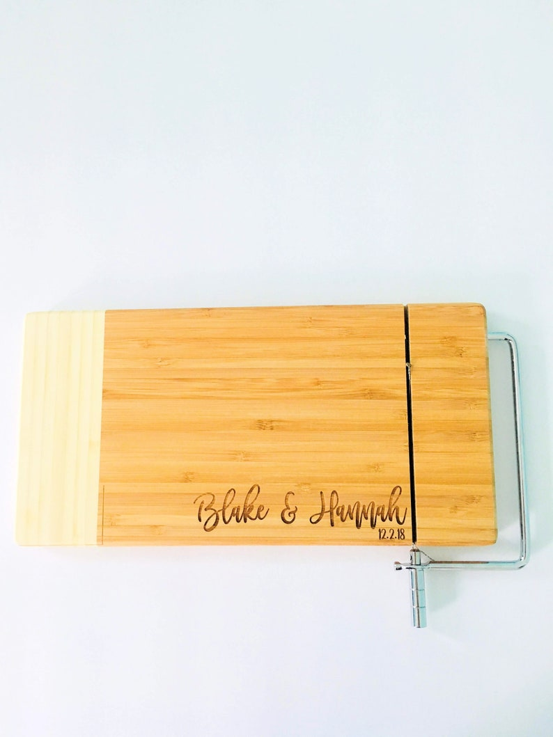 a954f550ffaa7 Engraved Two Tone Wooden Cutting Board for Cheese Bamboo