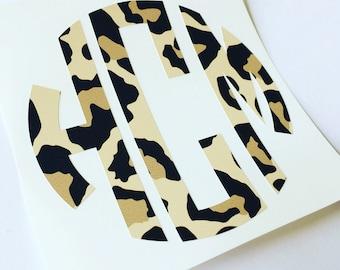 Cheetah Monogram Sticker Decal | Personalized decal sticker | Cheetah Monogram Decal | Computer Monogram | Phone Monogram | Yeti Monogram