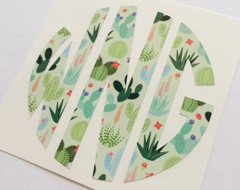 Succulent Cactus Monogram Sticker Decal | Personalized decal | Succulent Monogram Decal | Computer Monogram | Phone Monogram | Yeti Monogram