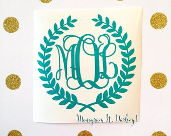 Monogrammed Wreath Sticker Decal | Many sizes and styles!