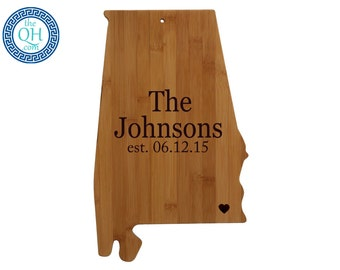 Alabama Personalized Cutting Board | State Shaped Board For Housewarming or Unique Wedding Gift