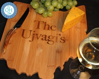 Ohio State Shaped Cutting Board Personalized Wedding Housewarming New Home Moving Hostess Host Closing Unique Gift