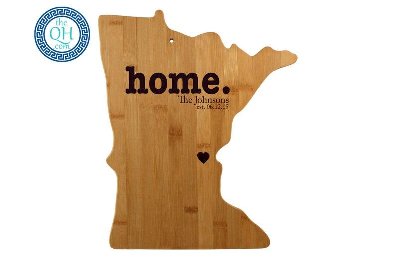 Minnesota Personalized Cutting Board Custom Housewarming or Unique Wedding Gift Home Sweet Home