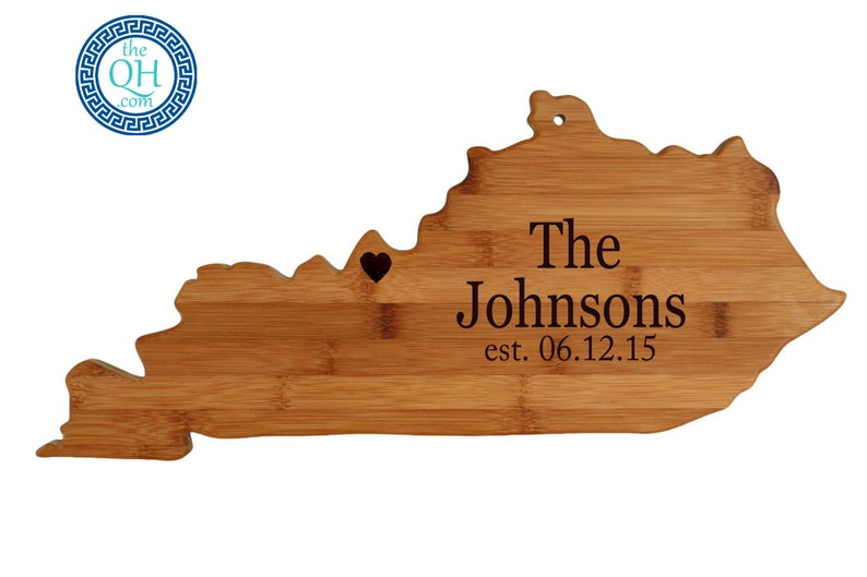 Kentucky State Shaped Cutting Board Personalized Wedding Moving New Home House Housewarming Host Hostess Closing Unique Gift