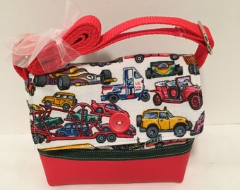 683dbd7c585 C73- Wee Bag: terrific car and truck pattern on a white background shoulder purse  with adjustable handle