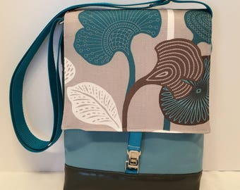 AJM12- Just Right Medium: modern tulip leaf fabric with zipper front pocket and top closure, inside pocket and an adjustable strap