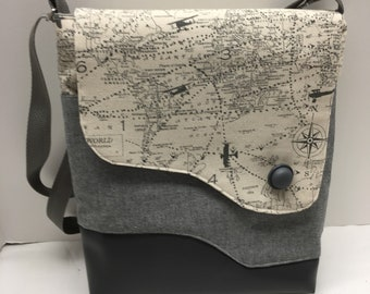 AC38- Crossover: smart map print purse with magnet closure, front and inside pocket and adjustable strap