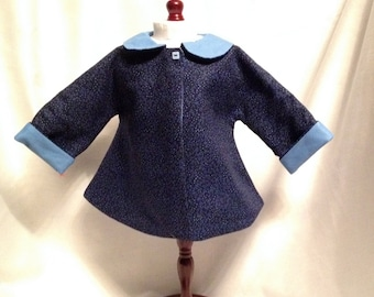 DJ5- Maplelea and American girl jacket - this is a vintage style 1953 dark and light blue reversible jacket