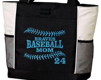 BASEBALL MOM Tote Bag. Baseball Tote. Baseball Bag. Baseball Mom Tote. Baseball Mom Bag. Custom Baseball Tote. Glitter Baseball Tote.