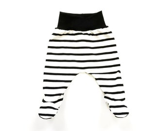 ec3f33dcb31db Black stripe footed leggings, with black rib knit waistband comfy, baby and  toddler pants, jersey fabric, newborn, gender neutral, unisex