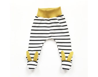 dcc1465524078 Black stripe mustard bunny footed leggings, waistband comfy, baby and  toddler pants, jersey fabric, newborn, gender neutral, unisex, feet