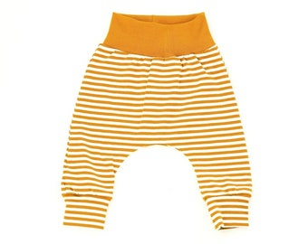 69720350b4326 Mustard stripe leggings with grey rib knit waistband comfy, baby and  toddler pants, jersey fabric, newborn unisex gender neutral