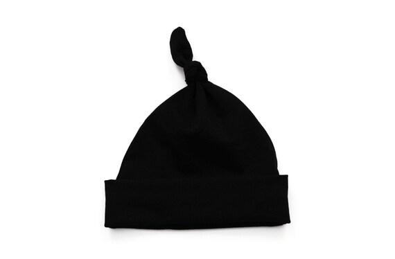 ed406aef9b03 Plain black knot hat handmade cute knot hat made using soft