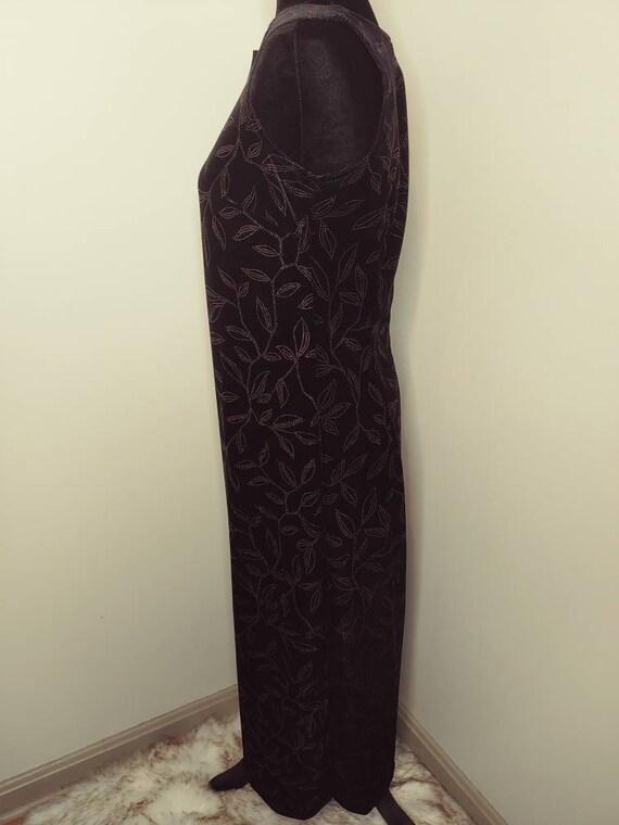 Vintage 1990's stretch velvet maxi body con dress… - image 3