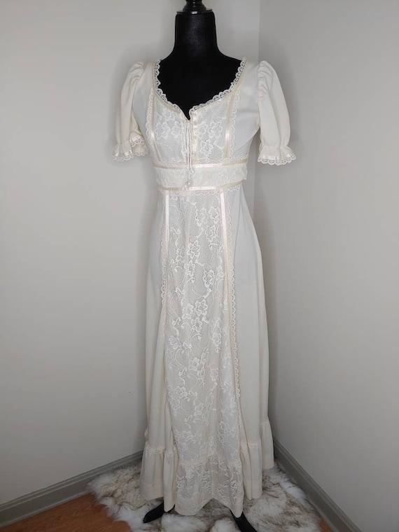 1970s white maxi wedding dress/prairie style