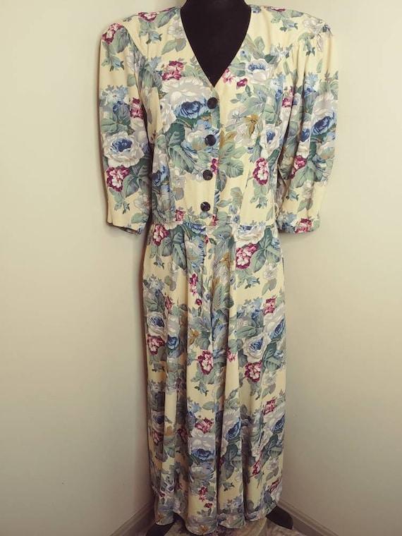 Vintage 1980s floral print pastel puff sleeve a-li