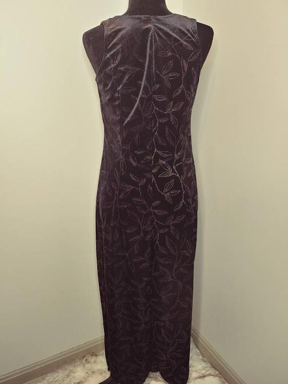 Vintage 1990's stretch velvet maxi body con dress… - image 4