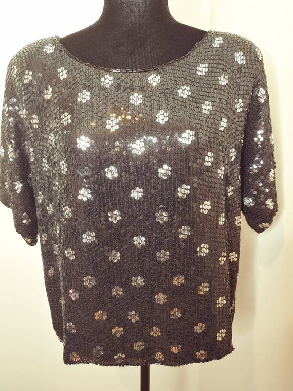 Vintage 1990s black and silver sequin blouse