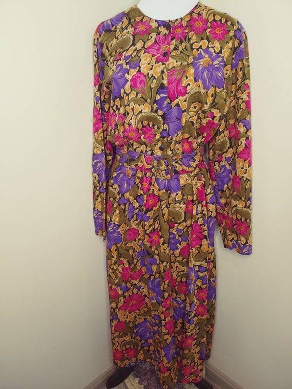 Vintage 1980s pink purple gold floral day dress