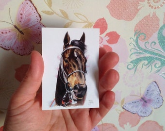 Race Horse ATC Print, ACEO Gloss Coated print, Horse ATC Print,Professionally Printed